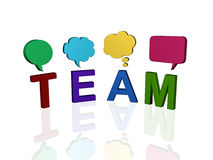 Team meeting. Group of letters that spells the word team with talk balloons Stock Images