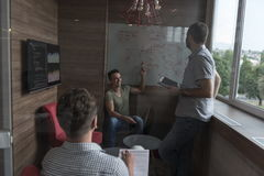 Team meeting and brainstorming in small private office. Young people group in small private office have team meeting and brainstorming while working on laptop Royalty Free Stock Photography