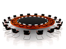 Team Meeting. Complete round table with communication tools Stock Photos