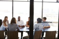 Team in a meeting at a creative business boardroom Royalty Free Stock Photo