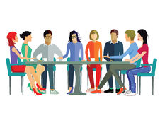 Team meeting. Diverse working team having discussion at conference table Stock Images