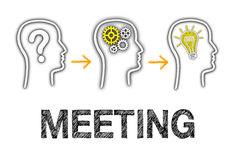 Team Meeting - question, analysis and great idea. Heads with text on white background stock illustration