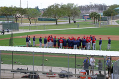 A Team Meeting at 2015 Spring Training Royalty Free Stock Images