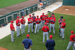 A Team Meeting at 2015 Spring Training Stock Images