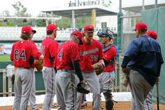A Team Meeting at 2015 Spring Training Royalty Free Stock Image