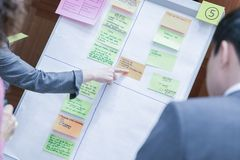 Team Member Pointing en Flip Chart Board blanco durante intercambio de ideas imagen de archivo