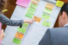 Team Member Pointing in Wit Flip Chart Board tijdens Uitwisseling van ideeën royalty-vrije stock fotografie