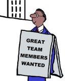 Team Members. Sign: Great team members wanted Stock Image