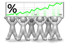 Team of men holding a chart. Team of men holding a winning chart royalty free illustration