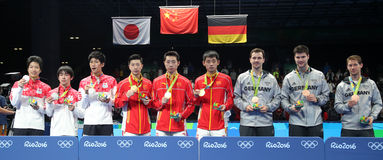 Team men`s podium at the Olympic Games 2016 Stock Photos