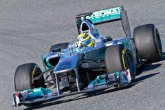 Team Mercedes F1, Nico Rosberg, 2012. JEREZ DE LA FRONTERA, SPAIN - FEB 07: Nico Rosberg of Mercedes F1 races on training session on February 07 , 2012, in Jerez Stock Image