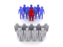 Team met leider tegenover team zonder leider, menigte. Royalty-vrije Stock Afbeeldingen