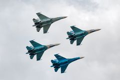 Team of military air fighters Su-27 Royalty Free Stock Photo