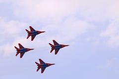 Team mit vier Kampfflugzeugen Mig 29 Stockfotos