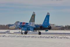Team Moskaus, RUSSLAND adelt Aerobatic ` Russe ` Flugzeuge SU-30 Lizenzfreie Stockfotos