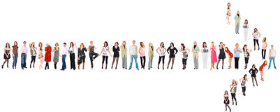 Team moves this direction. Of Groups of people series Royalty Free Stock Photos