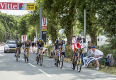 Team MTN-Qhubeka - Team Time Trial 2015. Plumelec, France - 13 July, 2015: Team MTN-Qhubeka riding the Team Time Trial stage between Plumelec and Vannes, during Stock Image