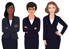 Team Multi Ethnic Womans Businessmen dans un costume illustration stock