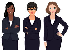 Team Multi Ethnic Womans Businessmen en un traje stock de ilustración