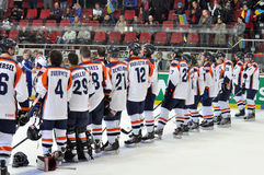 Team of the Netherlands. Rear view. During World Cup match between hockey teams of the Netherlands and Ukraine. Division I, Group B 18 April 2013. DS Druzhba stock photos