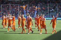 Team Netherlands waving to their fans during the Hockey World Cu Royalty Free Stock Images