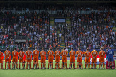 Team Netherlans in a line at Hockey World Cup 2014 Stock Image