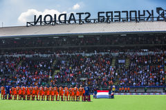 Team Netherlans in a line with their flag at Hockey World Cup 20 Royalty Free Stock Images