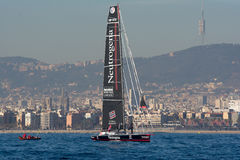 Team Neutrogena. Boat and Barcelona City Background. Barcelona World Race Stock Image