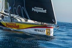 Team Neutrogena. Boat and Barcelona City Background. Barcelona World Race Stock Photography