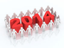 Team and new year concept. 3d render Team and new year 2014 concept (close-up Royalty Free Stock Photography