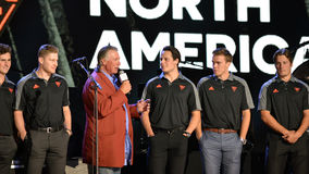 Team North America. Toronto, Canada - September 16, 2016: Barry Melrose interviews Auston Matthews and Connor McDavid of Team North America, the under 23 team at royalty free stock image