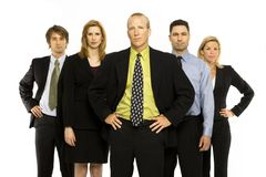 Team of office workers. Business workers stand with pride Stock Photos