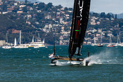 Team Oracle USA racing in Louis Vuitton Cup part of the America's Cup World Series Royalty Free Stock Images