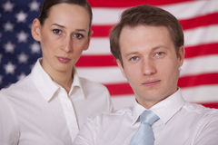 Team over american flag Royalty Free Stock Photography