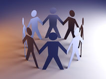 Team. Paper people in a circle. Royalty Free Stock Photography