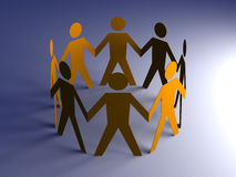 Team. Paper people in a circle. 3D rendered Illustration. Paper people in a circle Stock Image