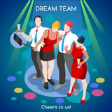 Team Party 02 People Isometric Stock Image
