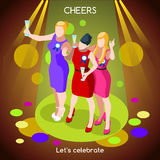 Team Party 06 People Isometric Stock Image