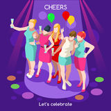 Team Party 07 People Isometric Stock Image