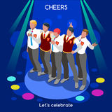 Team Party 04 People Isometric Royalty Free Stock Photos