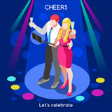 Team Party 03 People Isometric Stock Images