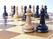 Team of pawns with two leaders. Metaphor of a business team with two leaders Royalty Free Stock Images