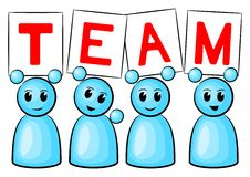 Team people. Symbolic figures holding up signs saying: Team royalty free illustration