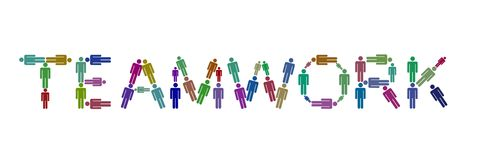 Team people. Illustration of different colored people spelling the word teamwork Royalty Free Stock Images