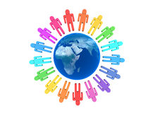 Team of people arround Earth. Isolated Stock Image