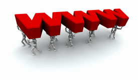 Team of People Carrying Red 'WWW' Stock Images