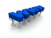 Team of People Carrying 'WWW'. 3D mannequins carrying the word 'WWW' in blue Royalty Free Stock Photos