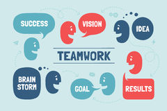 Team people with different shapes cloud talk or bubble for business themes Stock Photos