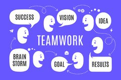 Team people with different shapes speech bubble royalty free stock image