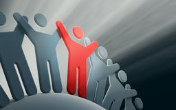 Team of people with hands up Stock Photo